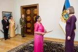 Ambassador Damayanthie Rajapakse presents Credentials to  Her Excellency Kersti Kaljulaid, President of the Republic of Estonia