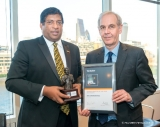 Finance Minister Ravi Karunanayake receives the 'Best Finance Minister of the Year 2017 - Asia Pacific Region' Award from The Banker Magazine