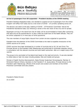 Arrival of passengers from UK suspended – President decides at the COVID meeting